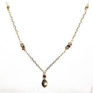 Labradorite, garnet & 14kt gold filled Necklace
